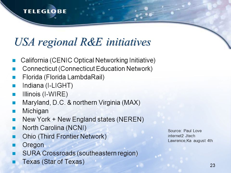 23 USA regional R&E initiatives California (CENIC Optical Networking Initiative) Connecticut (Connecticut Education Network) Florida (Florida LambdaRail) Indiana (I-LIGHT) Illinois (I-WIRE) Maryland, D.C.