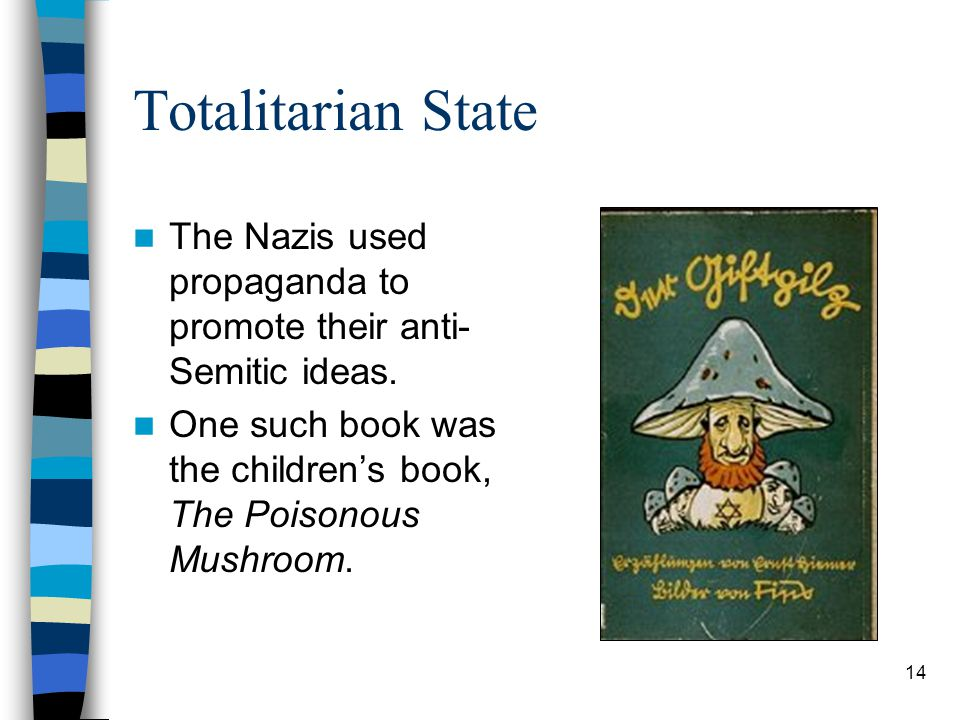 Totalitarian State The Nazis used propaganda to promote their anti- Semitic ideas.