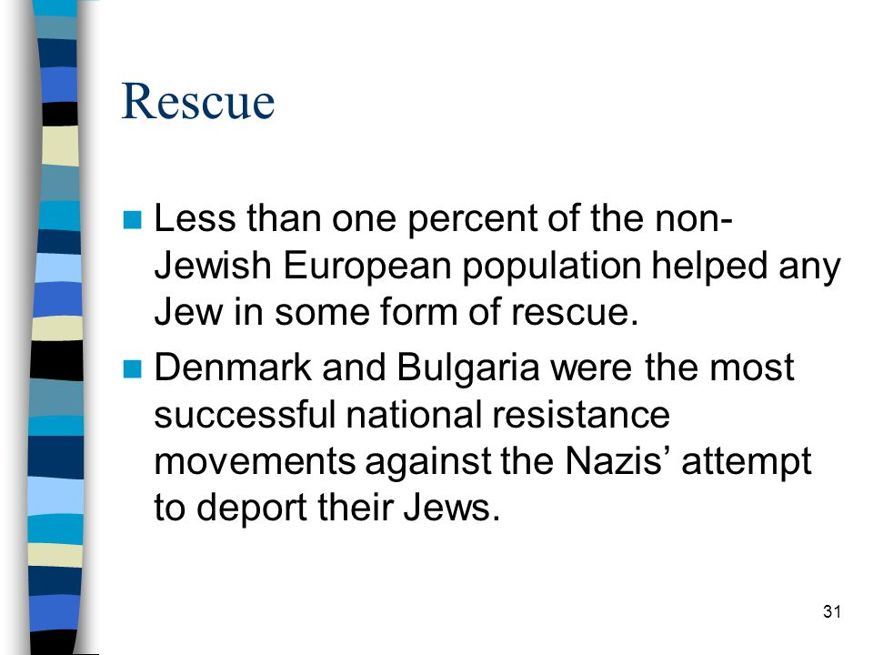 Rescue Less than one percent of the non- Jewish European population helped any Jew in some form of rescue.