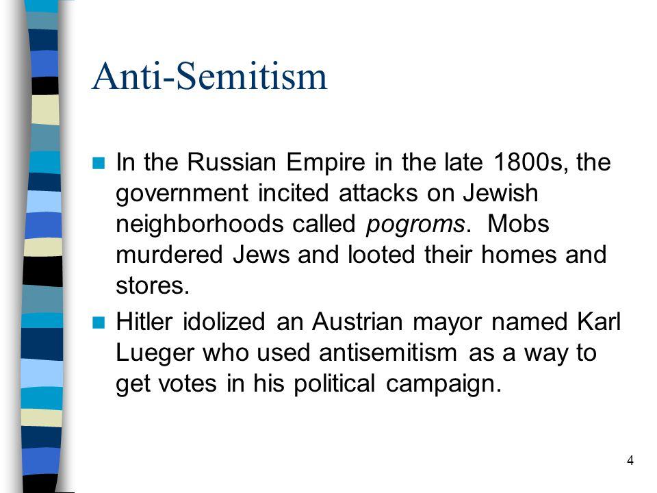 Anti-Semitism Political leaders who used anti-Semitism as a tool relied on the ideas of racial science to portray Jews as a race instead of a religion.