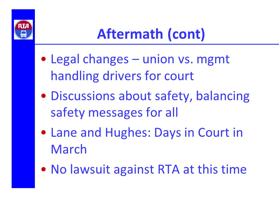 Aftermath (cont) Legal changes – union vs.