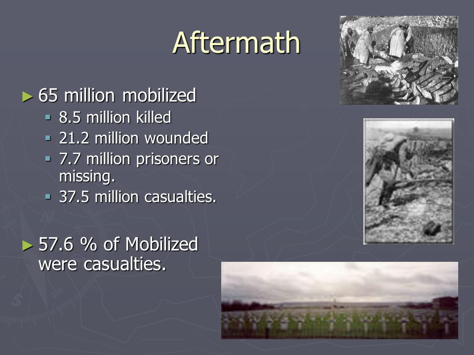Aftermath ► 65 million mobilized  8.5 million killed  21.2 million wounded  7.7 million prisoners or missing.