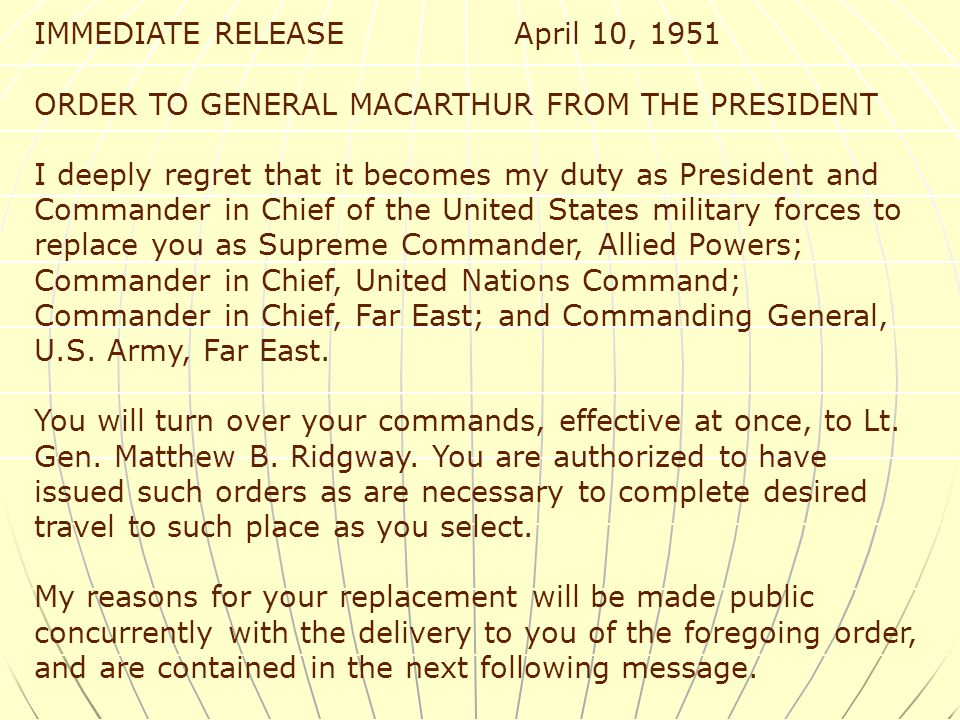 MacArthur Gets Fired- Matthew Ridgeway took his place Matthew Ridgeway took his place US regained SK land up to about the 38 th parallel again (includ