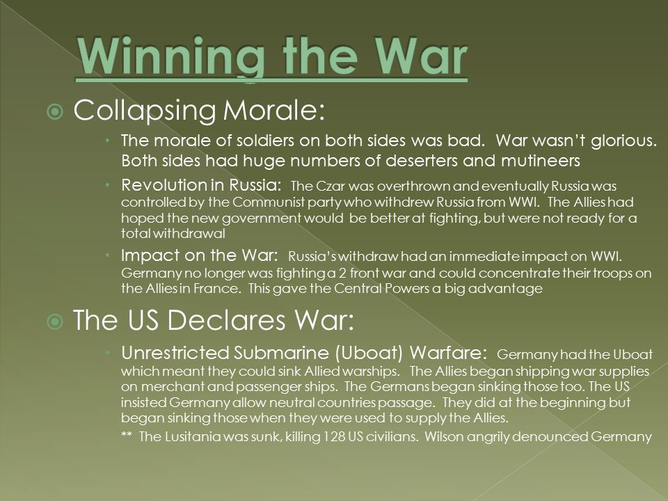  Collapsing Morale:  The morale of soldiers on both sides was bad.