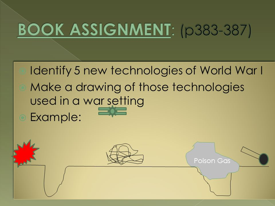  Identify 5 new technologies of World War I  Make a drawing of those technologies used in a war setting  Example:  Identify 5 new technologies of World War I  Make a drawing of those technologies used in a war setting  Example: Poison Gas