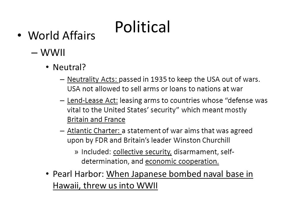 Political World Affairs – WWII Neutral.