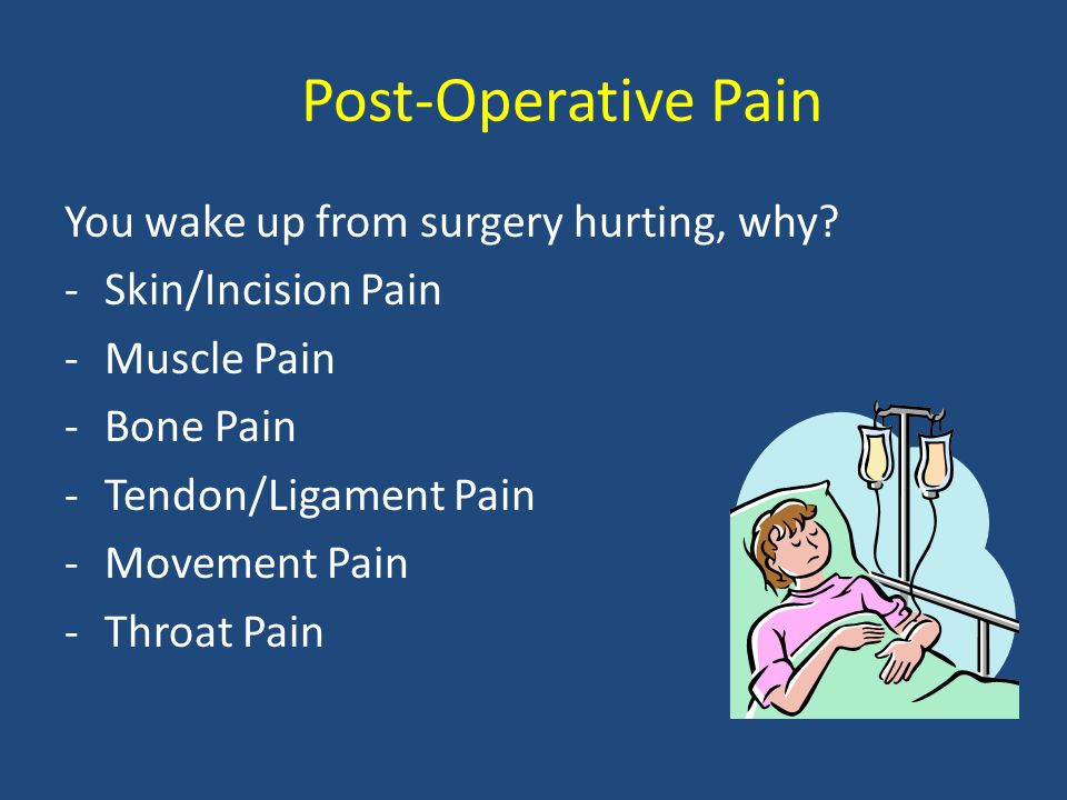 Post-Operative Pain You wake up from surgery hurting, why.