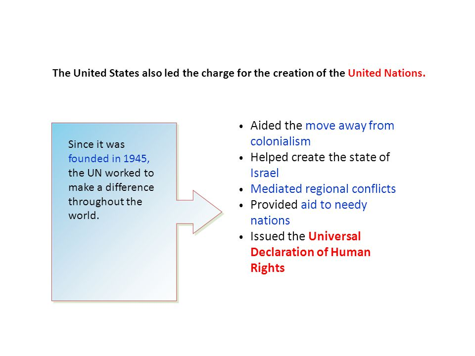 The United States also led the charge for the creation of the United Nations. Since it was founded in 1945, the UN worked to make a difference through
