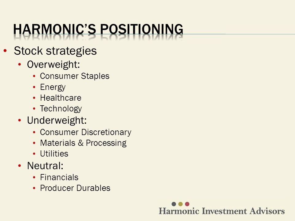 Stock strategies Overweight: Consumer Staples Energy Healthcare Technology Underweight: Consumer Discretionary Materials & Processing Utilities Neutral: Financials Producer Durables