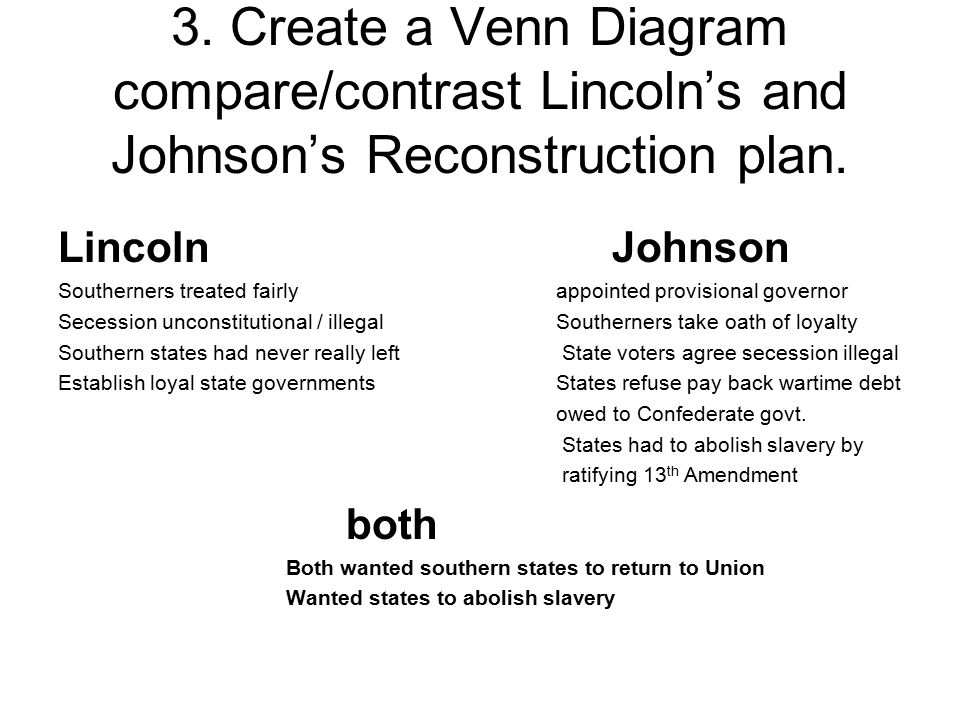 3. Create a Venn Diagram compare/contrast Lincoln's and Johnson's Reconstruction plan. Lincoln Johnson Southerners treated fairly appointed provisiona