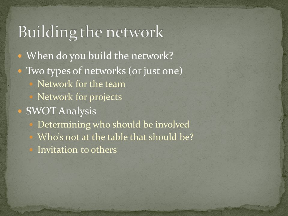 When do you build the network.