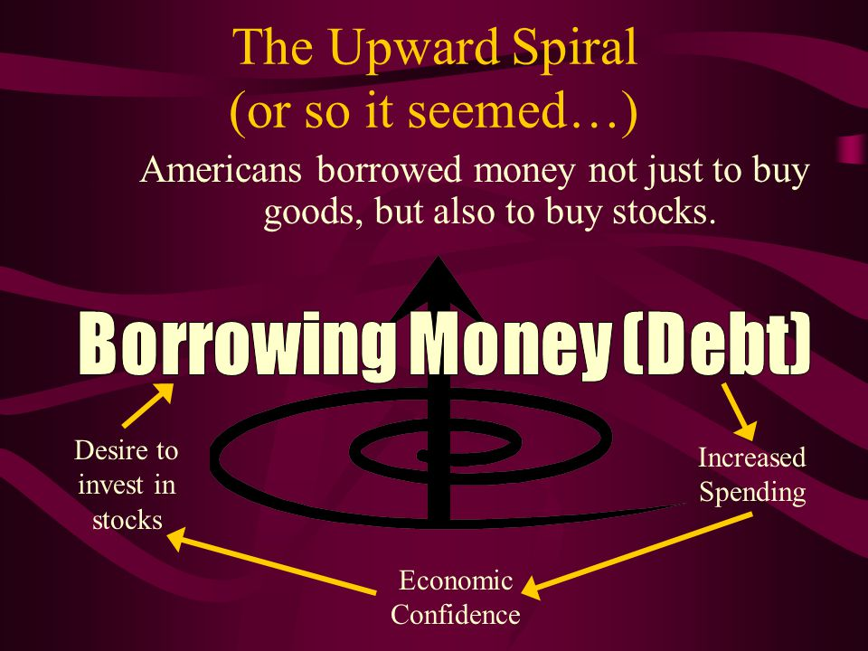 The Upward Spiral (or so it seemed…) Americans borrowed money not just to buy goods, but also to buy stocks. Increased Spending Economic Confidence De