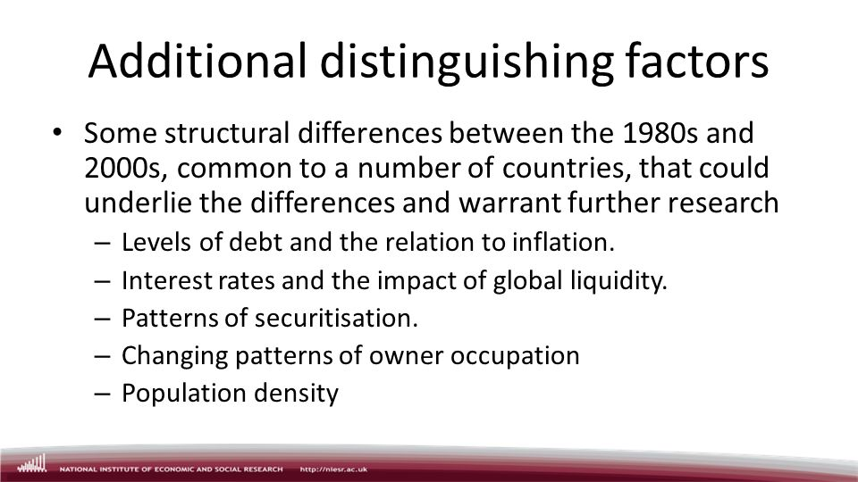 Additional distinguishing factors Some structural differences between the 1980s and 2000s, common to a number of countries, that could underlie the differences and warrant further research – Levels of debt and the relation to inflation.