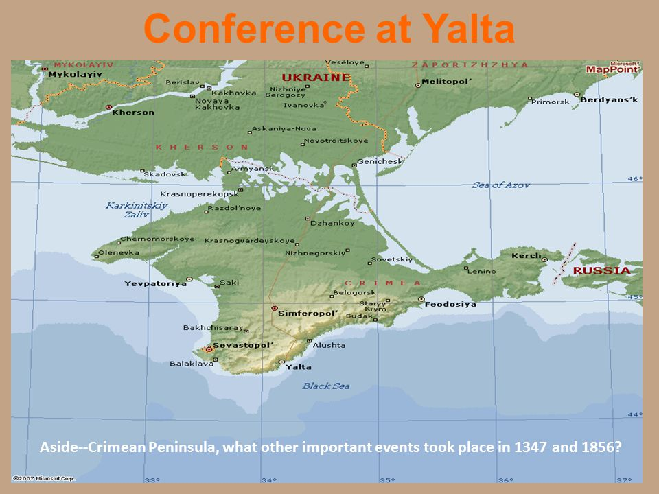 Conference at Yalta Aside--Crimean Peninsula, what other important events took place in 1347 and 1856?