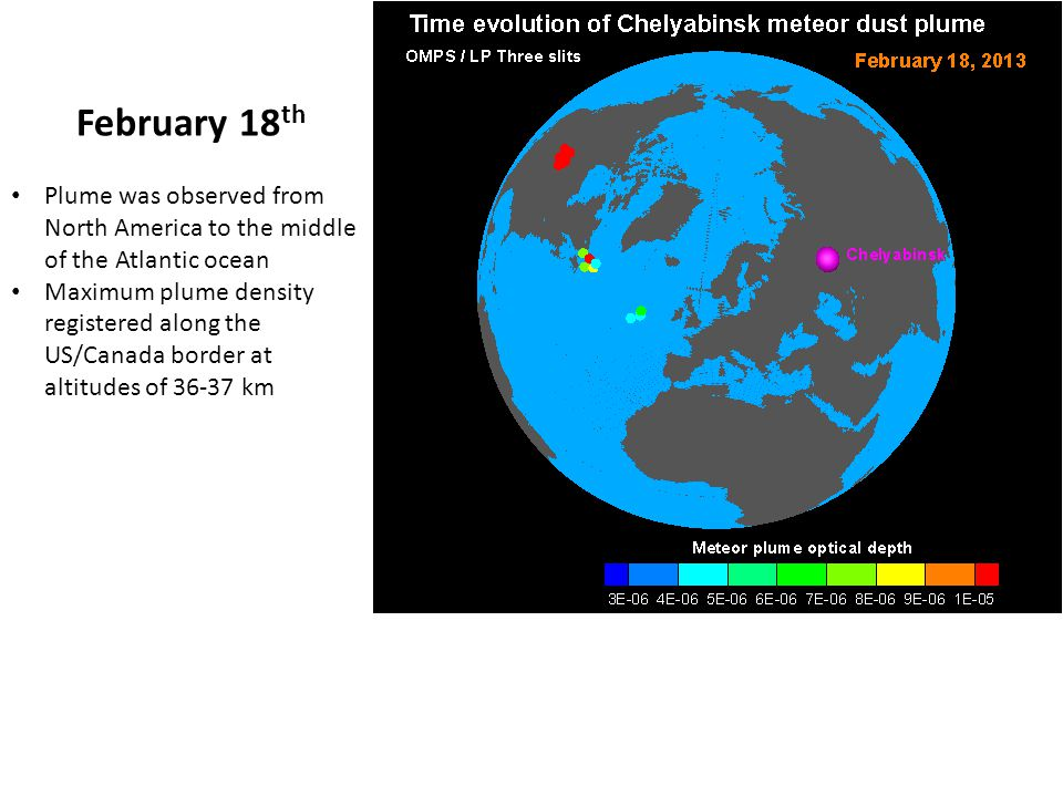 February 18 th Plume was observed from North America to the middle of the Atlantic ocean Maximum plume density registered along the US/Canada border at altitudes of 36-37 km