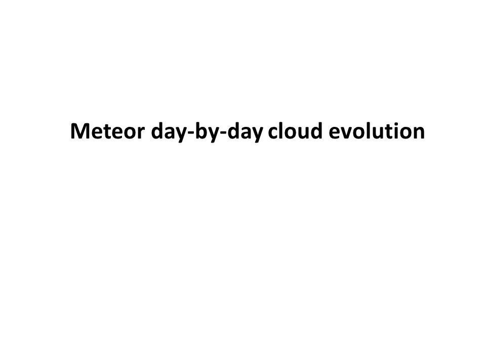 Meteor day-by-day cloud evolution
