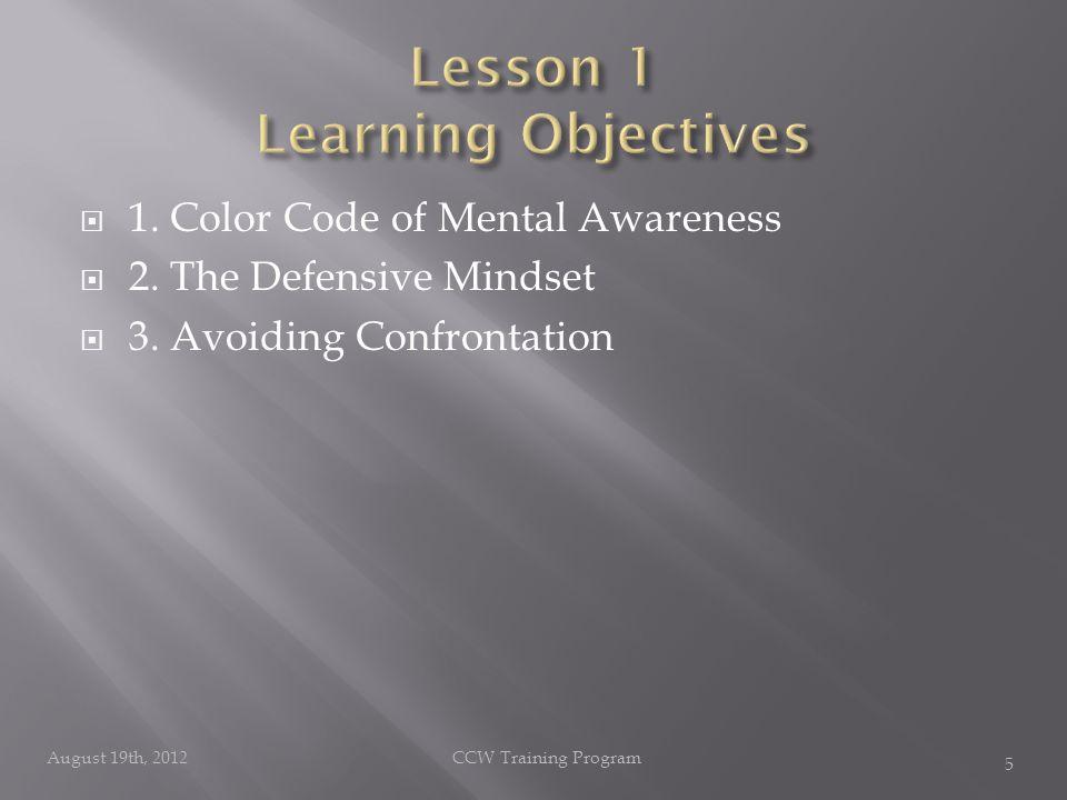  1. Color Code of Mental Awareness  2. The Defensive Mindset  3.
