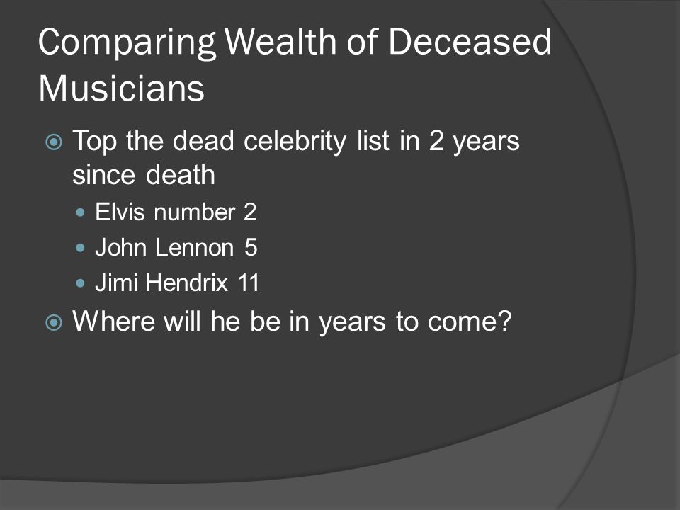 Comparing Wealth of Deceased Musicians  Top the dead celebrity list in 2 years since death Elvis number 2 John Lennon 5 Jimi Hendrix 11  Where will he be in years to come?
