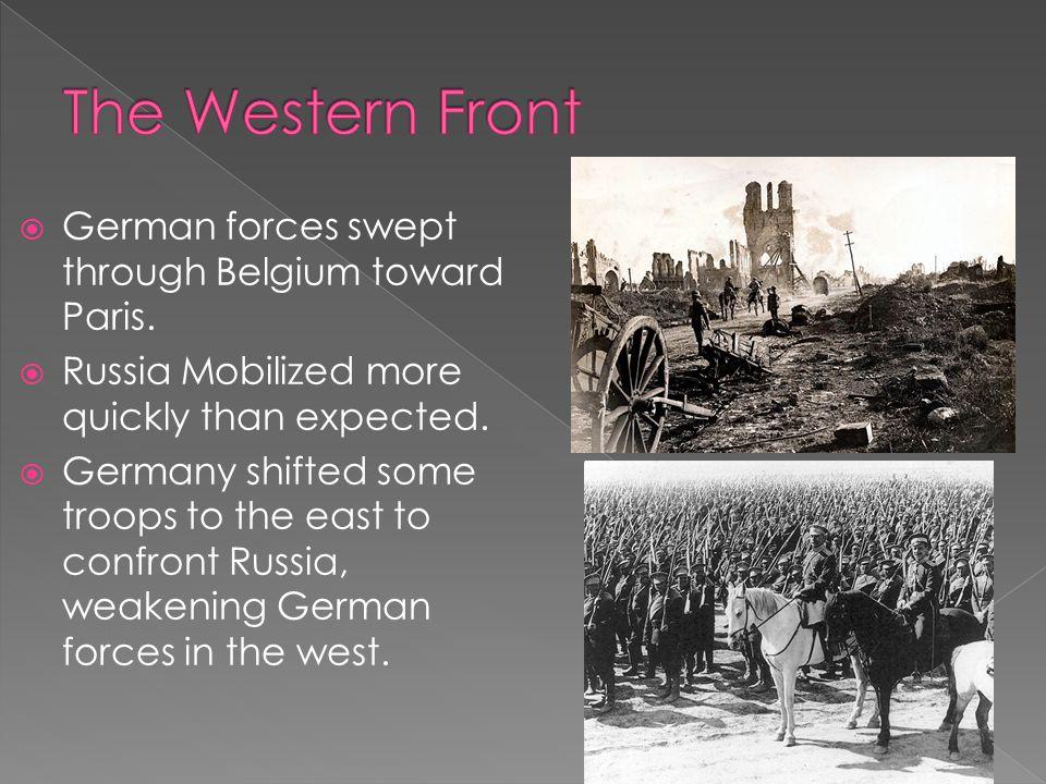  German forces swept through Belgium toward Paris.