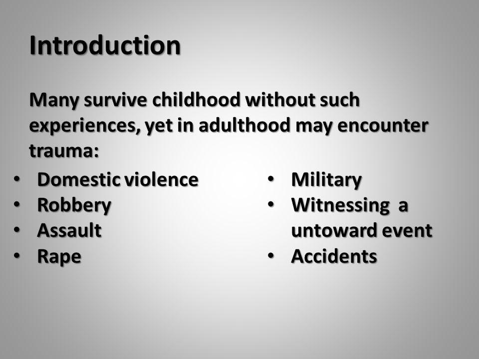 Introduction In surviving an event, the process is to try to stay alive.