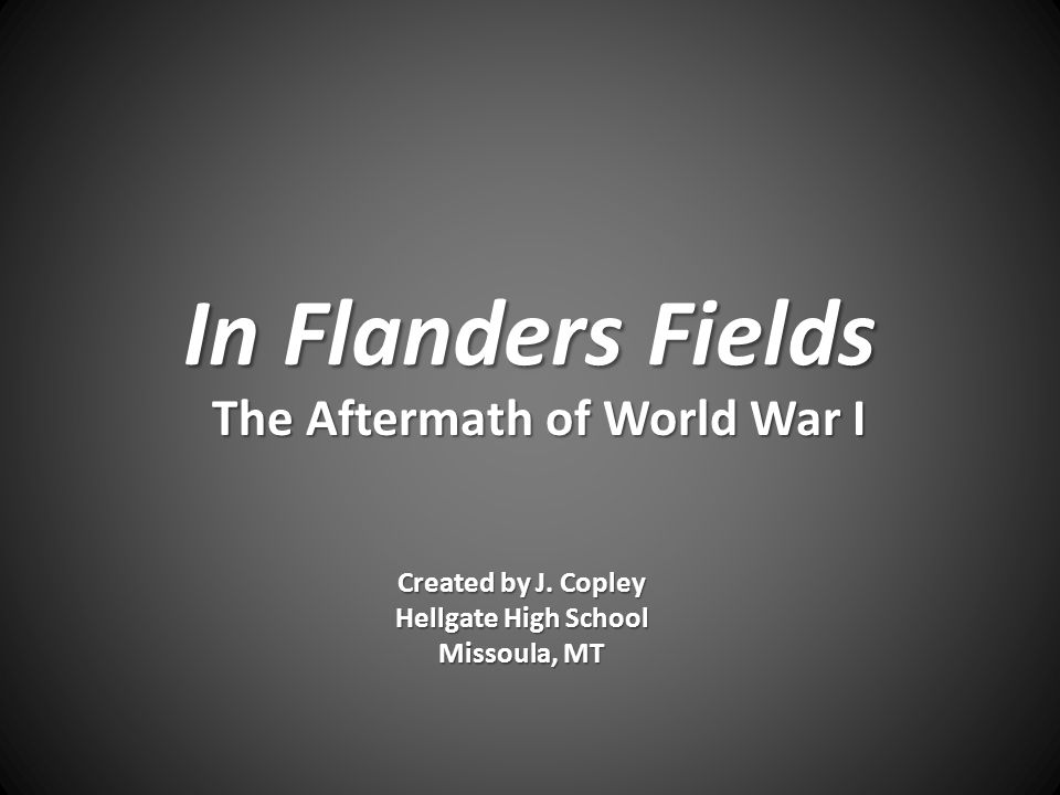 In Flanders Fields The Aftermath of World War I Created by J.