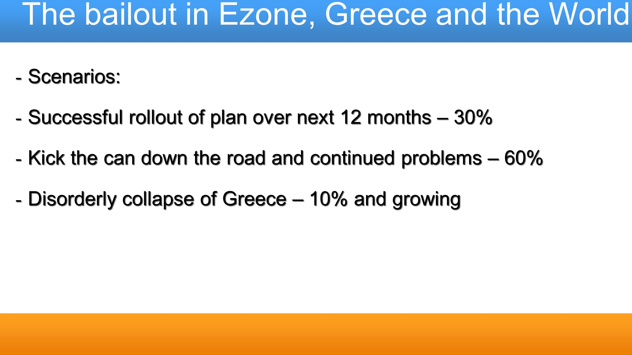The bailout in Ezone, Greece and the World - Scenarios: - Successful rollout of plan over next 12 months – 30% - Kick the can down the road and contin