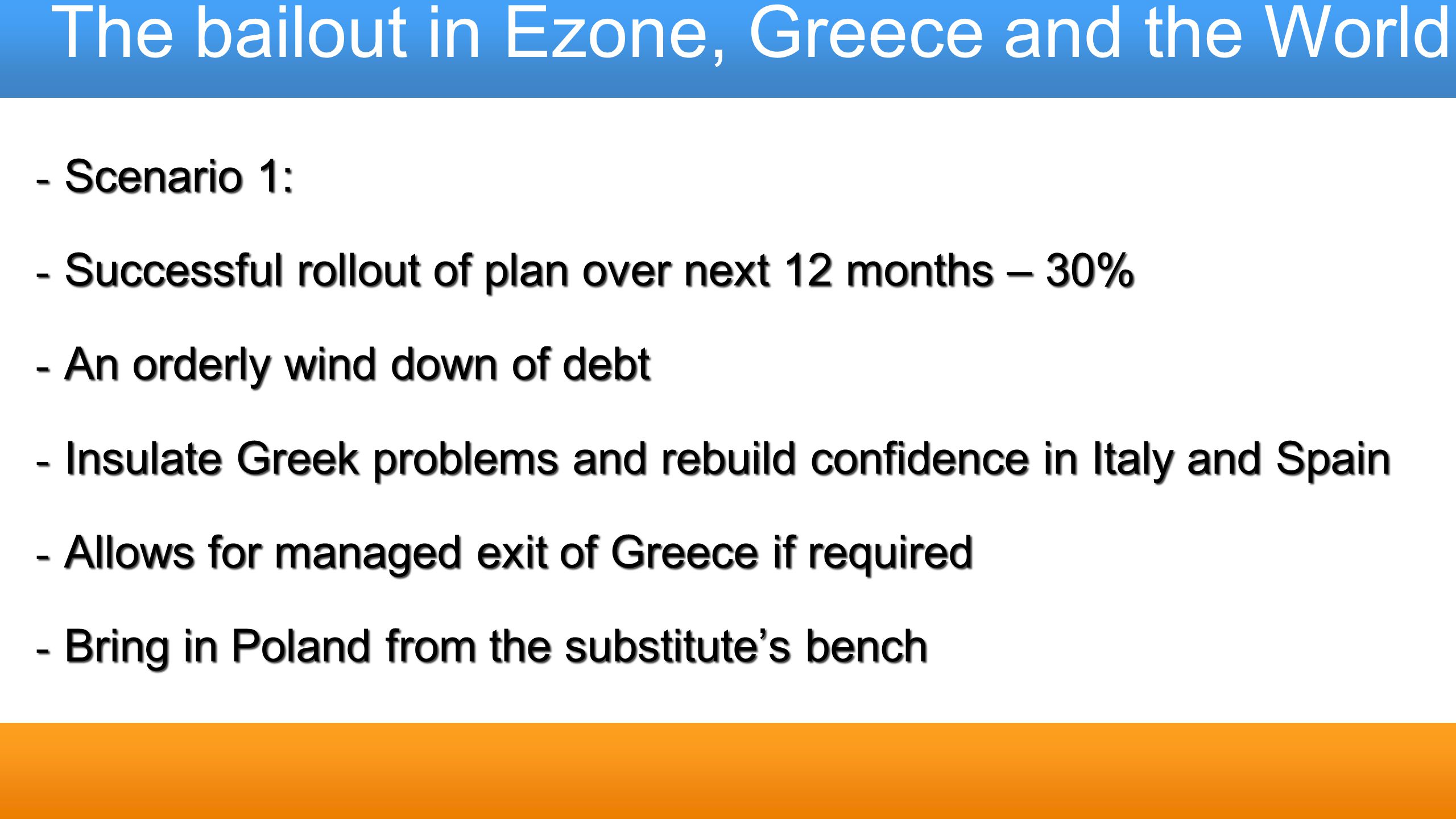 The bailout in Ezone, Greece and the World - Scenario 1: - Successful rollout of plan over next 12 months – 30% - An orderly wind down of debt - Insul