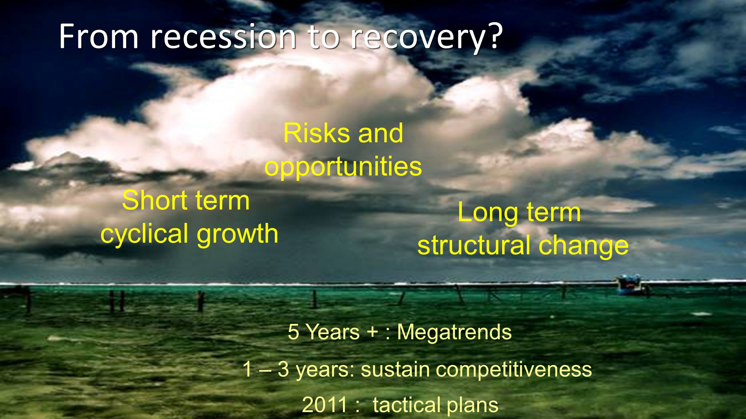 From recession to recovery? Short term cyclical growth Long term structural change Risks and opportunities 2011 : tactical plans 1 – 3 years: sustain