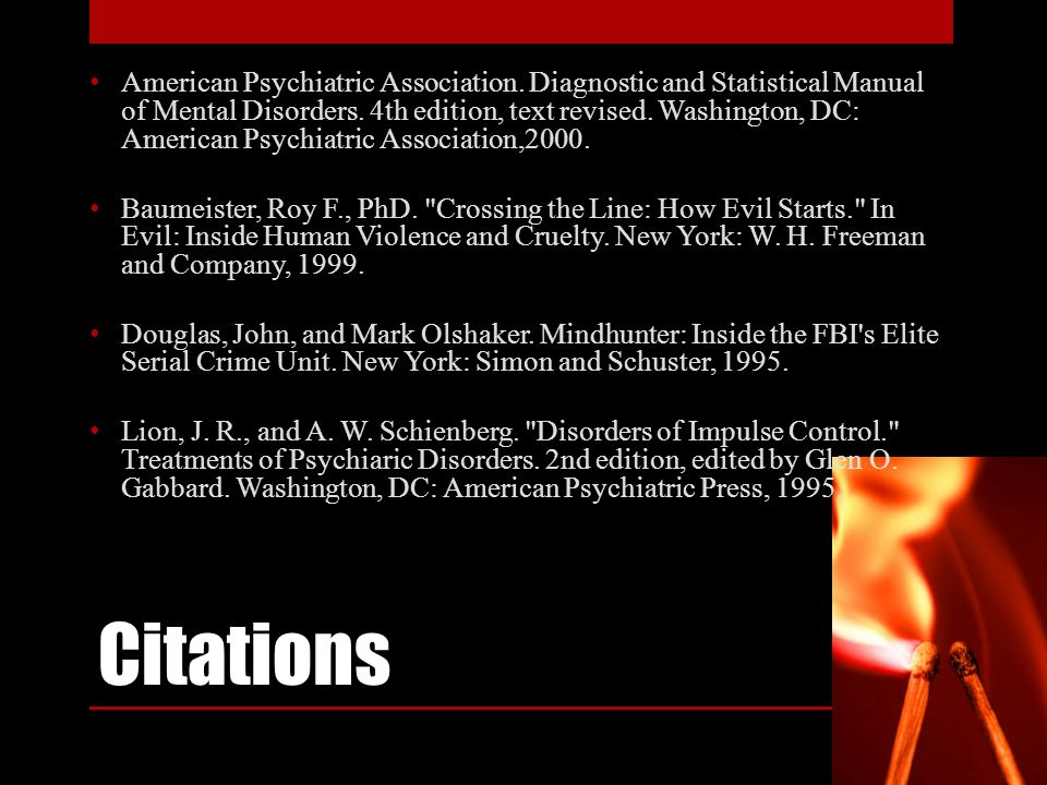 Citations American Psychiatric Association.Diagnostic and Statistical Manual of Mental Disorders.