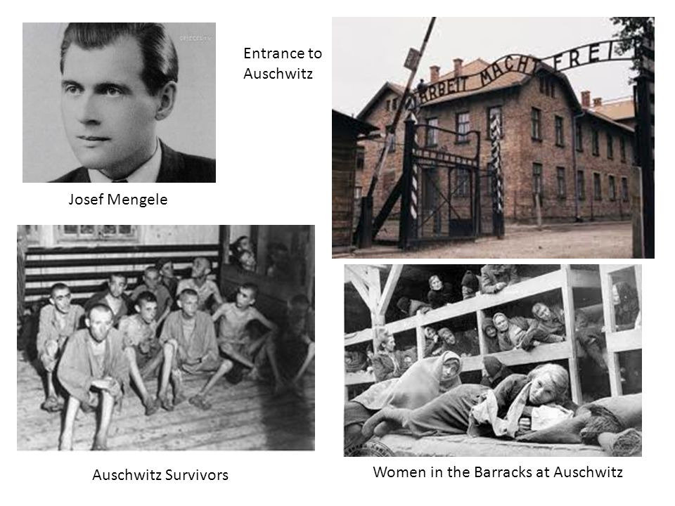 Josef Mengele Entrance to Auschwitz Auschwitz Survivors Women in the Barracks at Auschwitz