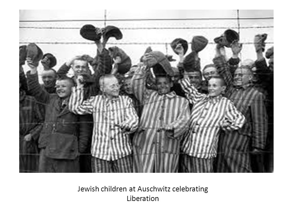Jewish children at Auschwitz celebrating Liberation
