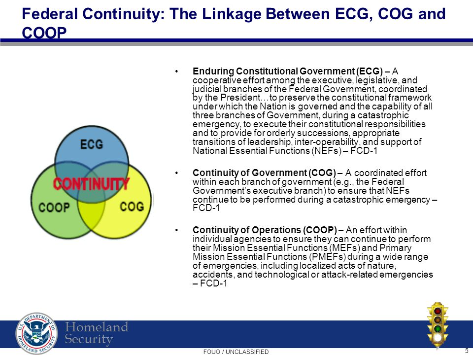 Homeland Security FOUO / UNCLASSIFIED 5 Federal Continuity: The Linkage Between ECG, COG and COOP Enduring Constitutional Government (ECG) – A cooperative effort among the executive, legislative, and judicial branches of the Federal Government, coordinated by the President…to preserve the constitutional framework under which the Nation is governed and the capability of all three branches of Government, during a catastrophic emergency, to execute their constitutional responsibilities and to provide for orderly successions, appropriate transitions of leadership, inter-operability, and support of National Essential Functions (NEFs) – FCD-1 Continuity of Government (COG) – A coordinated effort within each branch of government (e.g., the Federal Government's executive branch) to ensure that NEFs continue to be performed during a catastrophic emergency – FCD-1 Continuity of Operations (COOP) – An effort within individual agencies to ensure they can continue to perform their Mission Essential Functions (MEFs) and Primary Mission Essential Functions (PMEFs) during a wide range of emergencies, including localized acts of nature, accidents, and technological or attack-related emergencies – FCD-1