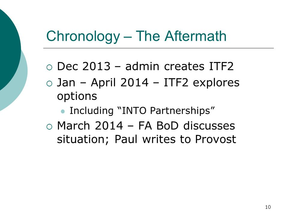 Chronology – The Aftermath  Dec 2013 – admin creates ITF2  Jan – April 2014 – ITF2 explores options Including INTO Partnerships  March 2014 – FA BoD discusses situation; Paul writes to Provost 10