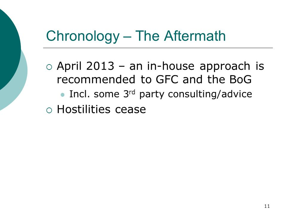 Chronology – The Aftermath  April 2013 – an in-house approach is recommended to GFC and the BoG Incl. some 3 rd party consulting/advice  Hostilities