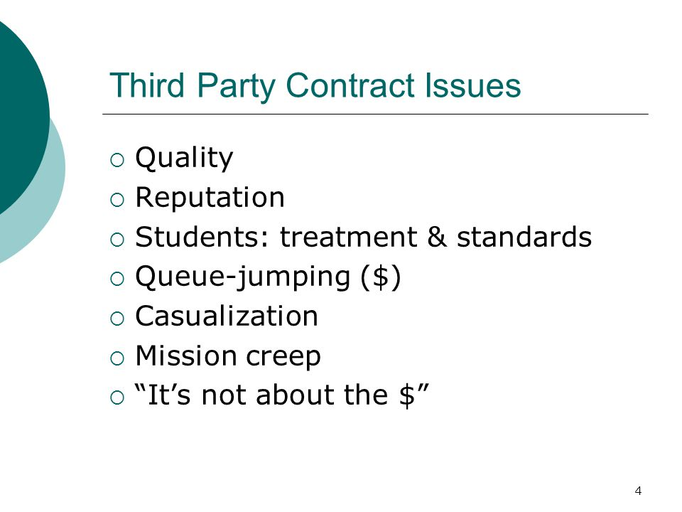 Third Party Contract Issues  Quality  Reputation  Students: treatment & standards  Queue-jumping ($)  Casualization  Mission creep  It's not about the $ 4
