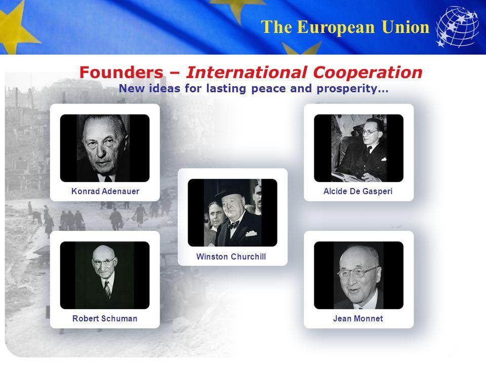 The European Union Founders – International Cooperation New ideas for lasting peace and prosperity… Konrad Adenauer Robert Schuman Winston Churchill A