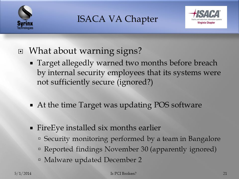 ISACA VA Chapter  What about warning signs.