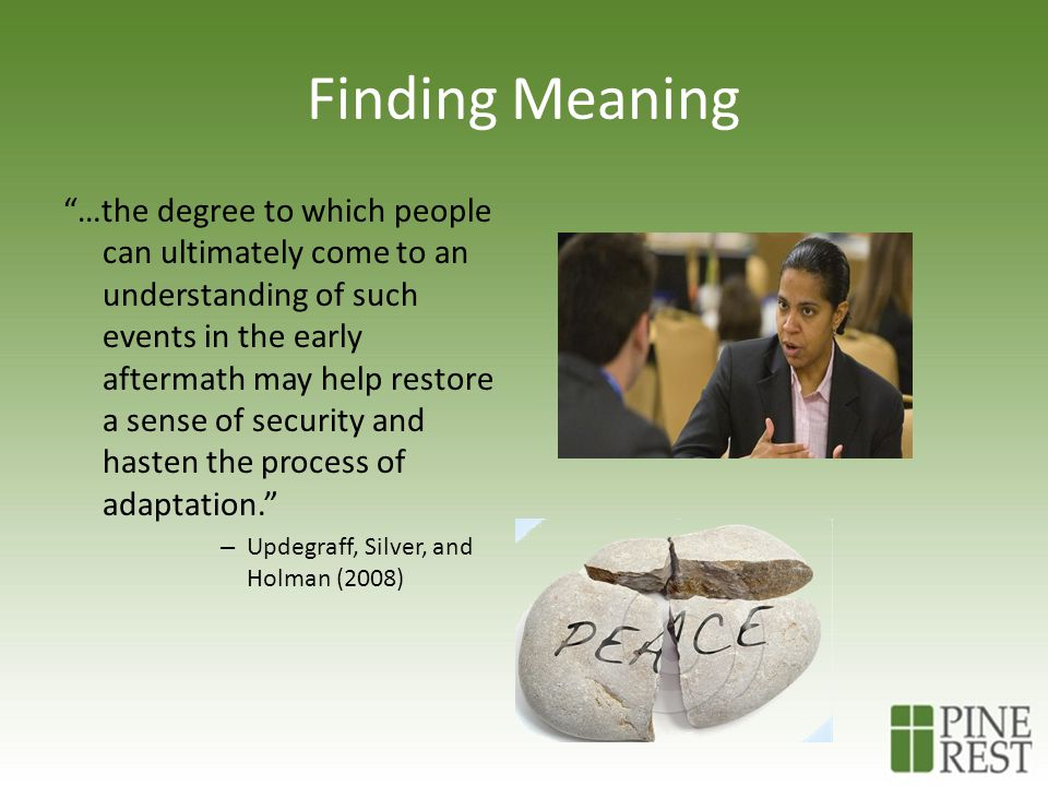 Finding Meaning …the degree to which people can ultimately come to an understanding of such events in the early aftermath may help restore a sense of security and hasten the process of adaptation. – Updegraff, Silver, and Holman (2008)