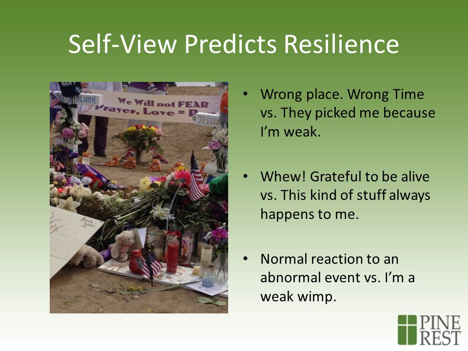 Self-View Predicts Resilience Wrong place. Wrong Time vs.