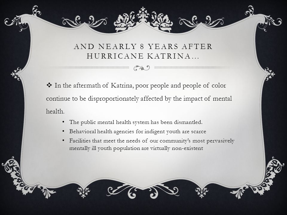 AND NEARLY 8 YEARS AFTER HURRICANE KATRINA…  In the aftermath of Katrina, poor people and people of color continue to be disproportionately affected