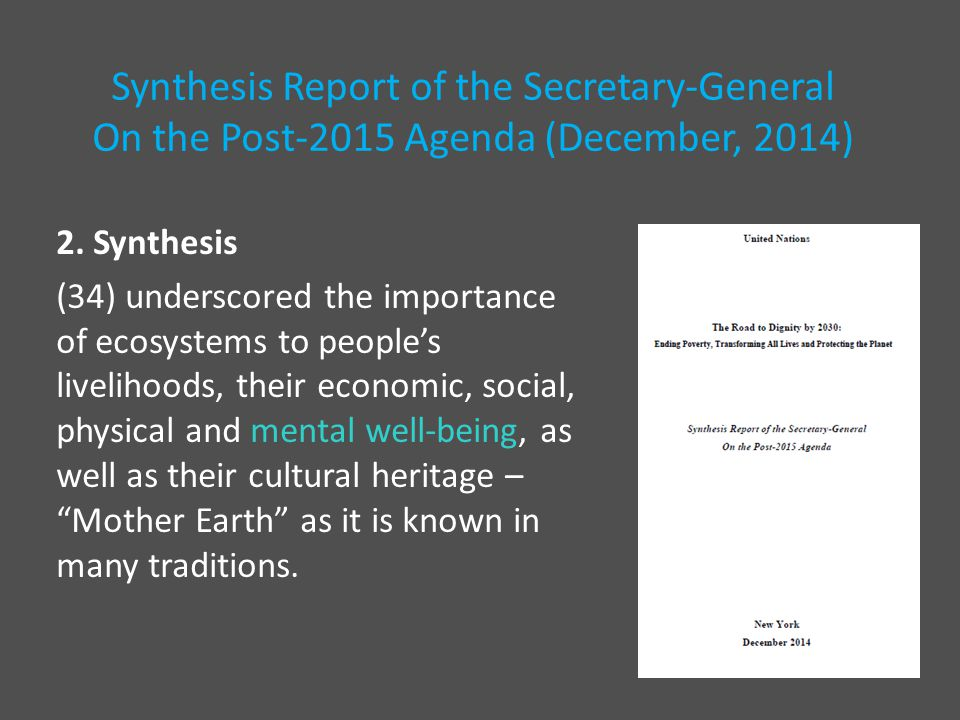 2. Synthesis (34) underscored the importance of ecosystems to people's livelihoods, their economic, social, physical and mental well-being, as well as