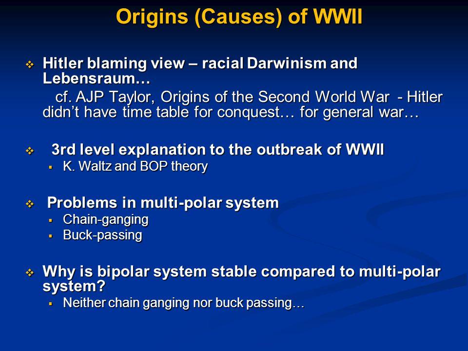Origins (Causes) of WWII  Hitler blaming view – racial Darwinism and Lebensraum… cf.