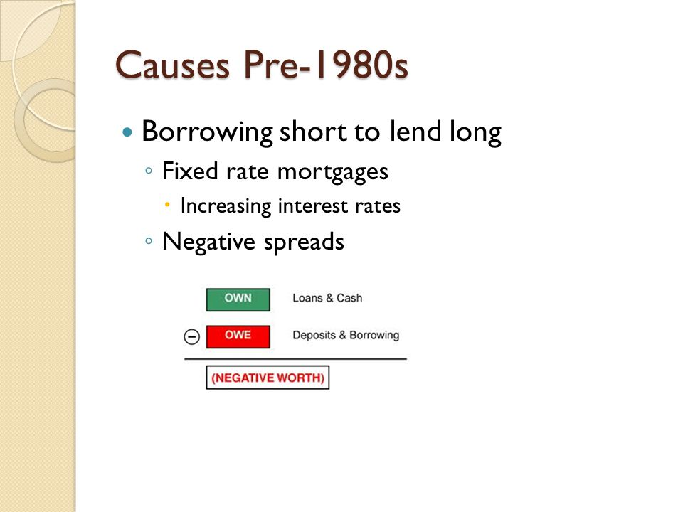 Causes Pre-1980s Regulation Q ◦ Extended to S&Ls in 1966 ◦ Limited interest paid on deposits ◦ Phased out in 1980 by DIDMCA  Rapid growth risky investments could be pursued Federal deposit insurance ◦ All S&Ls charged same premium