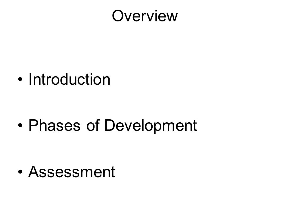 Overview Introduction Phases of Development Assessment
