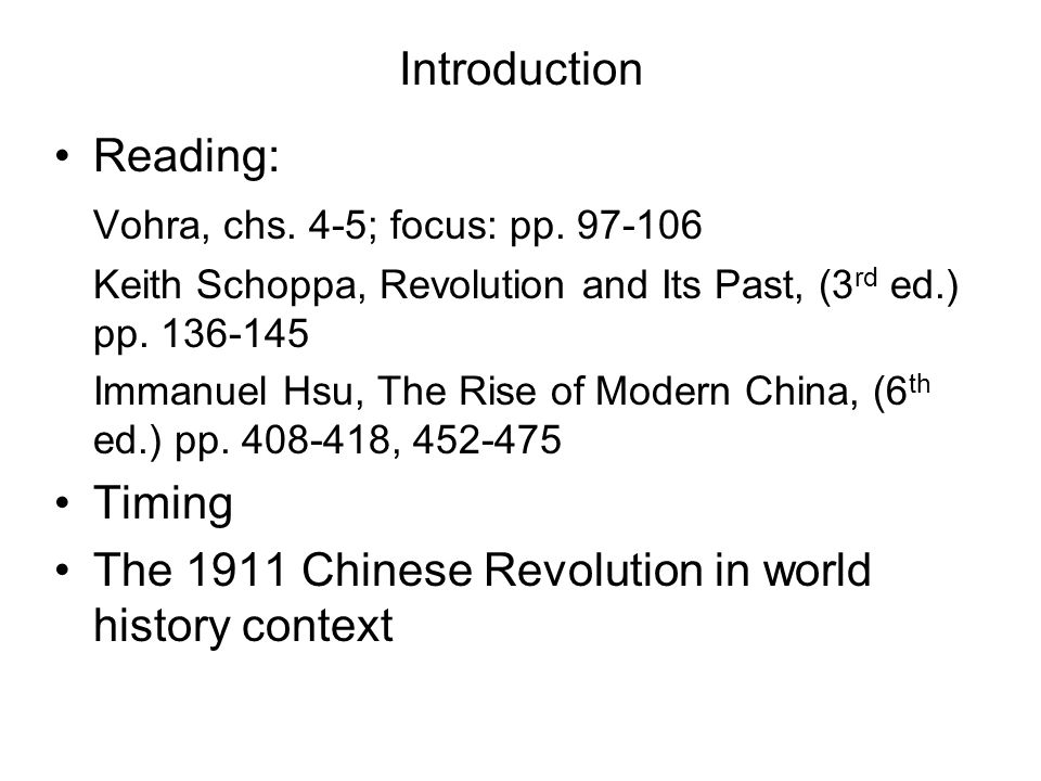 Global Historical Context The 19 th Century: The Age of Revolution (Crane Brinton, R.R.