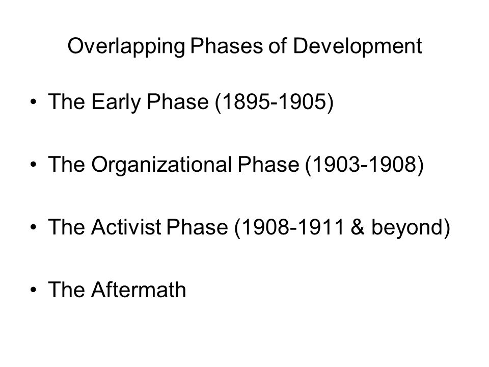 Overlapping Phases of Development The Early Phase (1895-1905) The Organizational Phase (1903-1908) The Activist Phase (1908-1911 & beyond) The Afterma