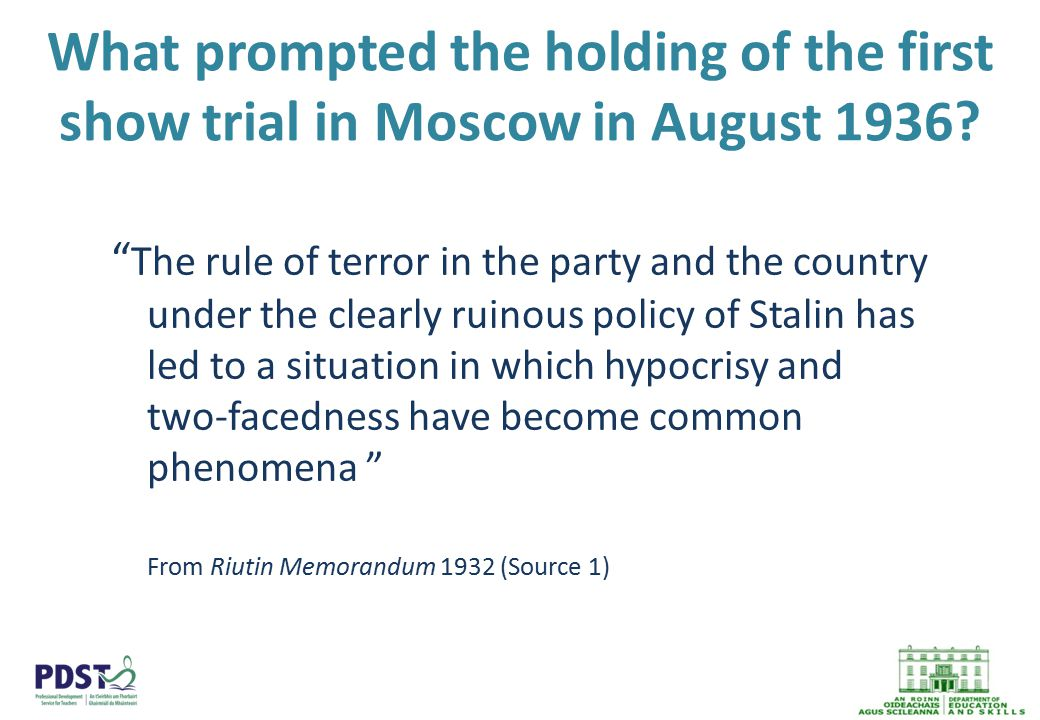 What prompted the holding of the first show trial in Moscow in August 1936.