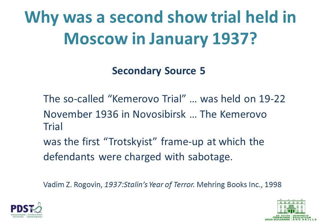 Why was a second show trial held in Moscow in January 1937.
