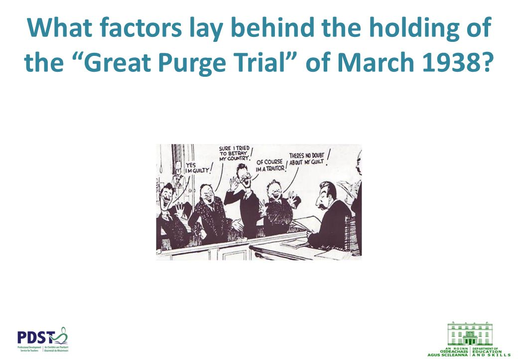 What factors lay behind the holding of the Great Purge Trial of March 1938