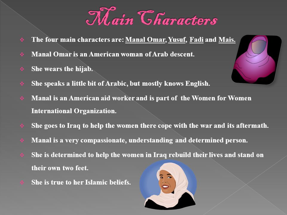  The four main characters are: Manal Omar, Yusuf, Fadi and Mais.
